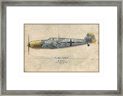 Adolf Galland Messerschmitt Bf-109 - Map Background Framed Print
