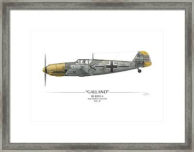 Adolf Galland Messerschmitt Bf-109 - White Background Framed Print