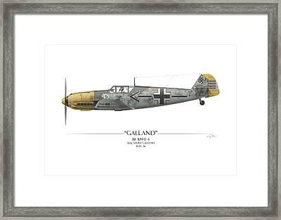 Adolf Galland Messerschmitt Bf-109 - White Background Framed Print by Craig Tinder