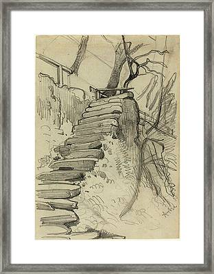 Adolph Menzel, Flight Of Stone Steps In A Garden Framed Print by Litz Collection