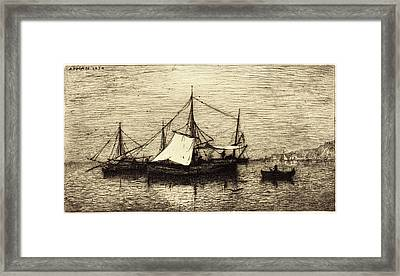 Adolphe Appian, French 1818-1898, Coasting Trade Vessels Framed Print by Litz Collection