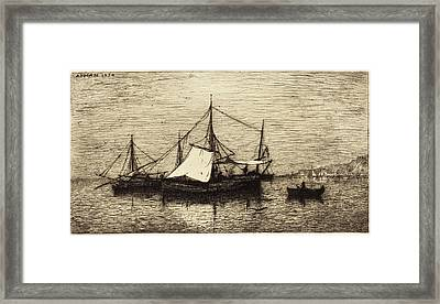 Adolphe Appian French, 1818 - 1898, Coasting Trade Vessels Framed Print by Quint Lox