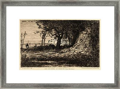 Adolphe Appian French, 1818 - 1898. Near Menton Aux Framed Print by Litz Collection