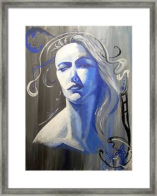 Adora In Blue Framed Print by Diane Peters