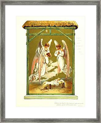 Adoration Of The Baby Jesus Framed Print by British Library