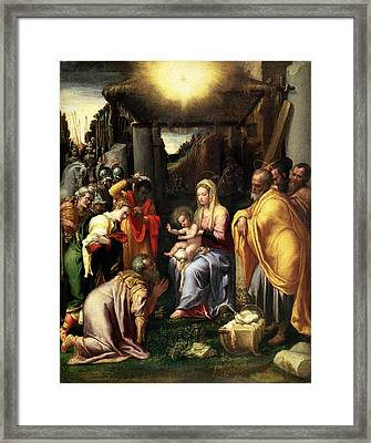 Adoration Of The Kings Framed Print by Taddeo Zuccaro