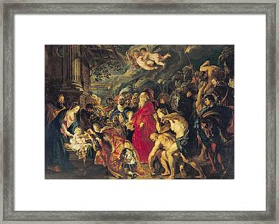 Adoration Of The Magi, 1610 Oil On Canvas Framed Print by Peter Paul Rubens