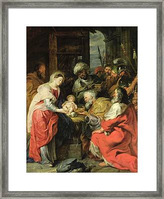 Adoration Of The Magi, 1626-29 Oil Canvas Framed Print