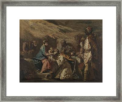 Adoration Of The Magi, Attributed To Gasparo Diziani Framed Print