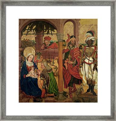 Adoration Of The Magi, C.1475 Oil On Panel Framed Print by Martin Schongauer