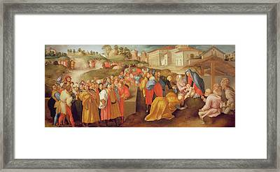 Adoration Of The Magi, Known As The Benintendi Epiphany Oil On Panel Framed Print by Jacopo Pontormo