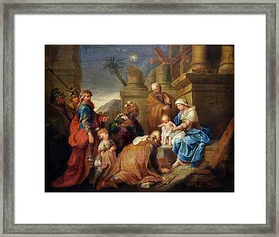 Adoration Of The Magi Oil On Canvas Framed Print by Jacques Stella