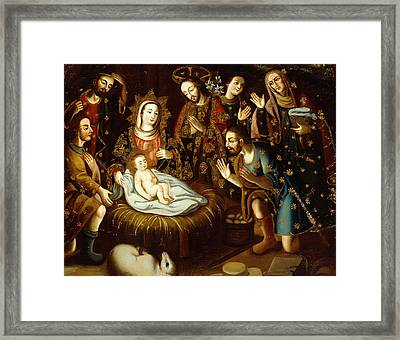 Adoration Of The Sheperds Framed Print by Gaspar Miguel de Berrio