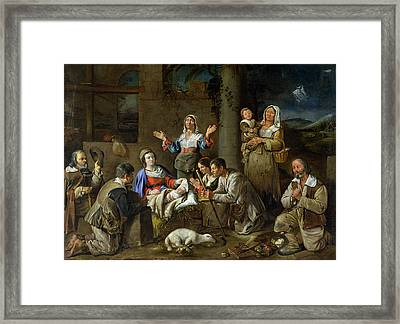 Adoration Of The Shepherds Framed Print by Jean Michelin