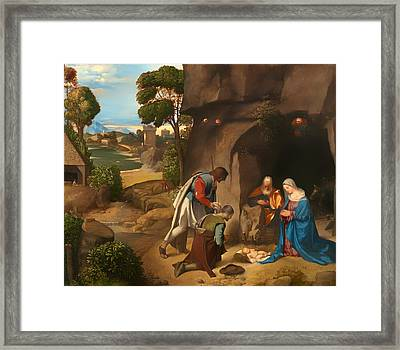 Adoration Of The Shepherds Framed Print by Mountain Dreams