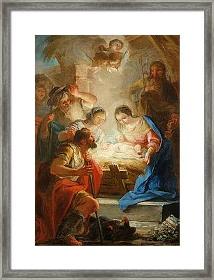 Adoration Of The Shepherds Framed Print by Mariano Salvador de Maella