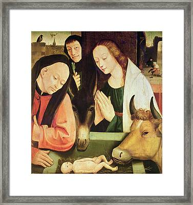 Adoration Of The Shepherds  Framed Print by Hieronymus Bosch
