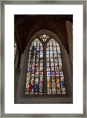 Adoration Of The Shepherds Window In Old Church Framed Print