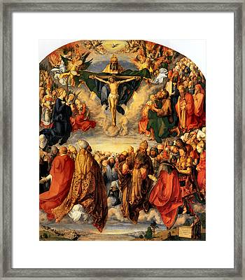 Adoration Of The Trinity Framed Print by Albrecht Durer