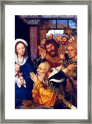 Adoring Baby Jesus Framed Print by Munir Alawi