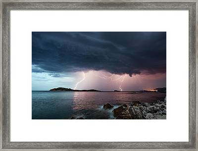 Adriatic Lightning Framed Print by Image By Chris Winsor