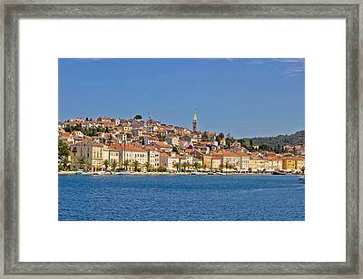 Adriatic Town Of Mali Losinj View From Sea Framed Print