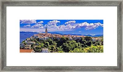 Adriatic Town Of Vrbnik Panoramic View Framed Print