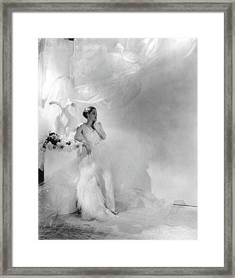 Adrienne Ames Wearing A Grecian Gown Framed Print