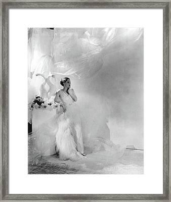 Adrienne Ames Wearing A Grecian Gown Framed Print