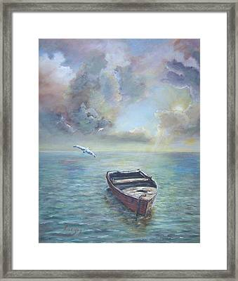 Framed Print featuring the painting Adrift by  Luczay