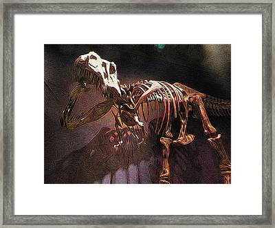 Adult T-rex Skeleton Framed Print by Paul Gioacchini