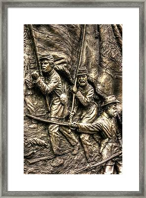 Advancing The Colors - State Of Delaware Monument Gettysburg Detail-a Autumn Mid-day Framed Print by Michael Mazaika