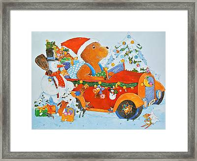 Advent Calendar Bear Framed Print by Christian Kaempf