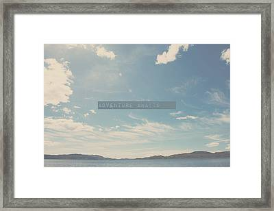 Adventure Awaits - Fine Art Nature Clouds Water Blue Inspirational Quote Photograph Framed Print