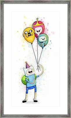 Adventure Time Finn With Birthday Balloons Jake Princess Bubblegum Bmo Framed Print by Olga Shvartsur