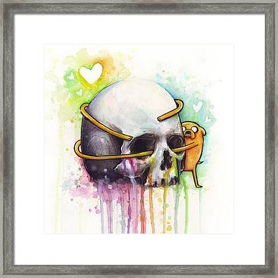 Adventure Time Jake Hugging Skull Watercolor Art Framed Print by Olga Shvartsur