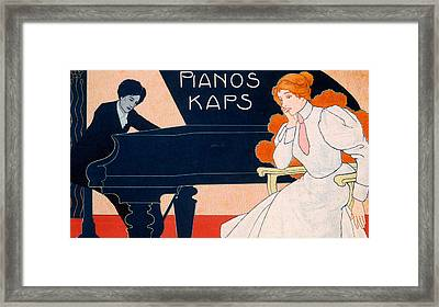 Advertisement For Kaps Pianos Framed Print by Hans Pfaff