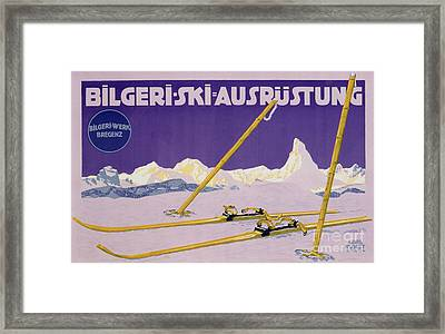Advertisement For Skiing In Austria Framed Print by Carl Kunst