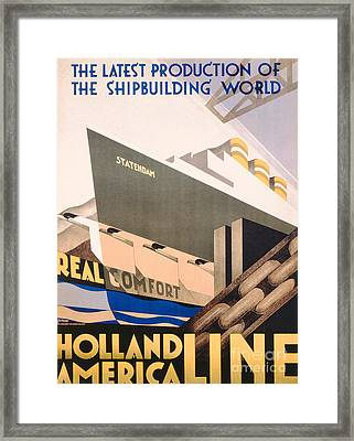 Advertisement For The Holland America Line Framed Print by Hoff