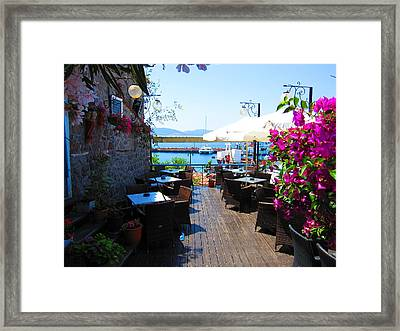 Aegean Cafe Framed Print by Andreas Thust