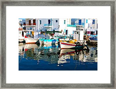 Framed Print featuring the photograph Aegean Harbor  by John Babis