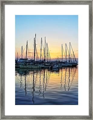Aegina Harbour Sunset Framed Print