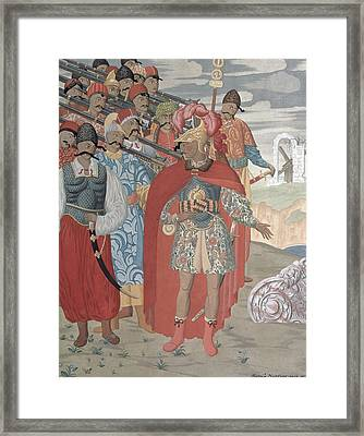Aeneas And His Soldiers, 1919 Colour Engraving Framed Print by Georgy Narbut