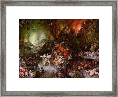 Aeneas And The Sibyl In The Underworld, 1598 Oil On Copper Framed Print by Jan the Elder Brueghel