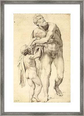 Aeneas With A Boy Framed Print by Michelangelo Buonarroti