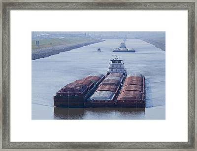 Aep Tow Passing Through The Chain Of Rocks Canal Framed Print