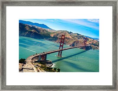 Aerial Golden Gate Bridge Over San Francisco Bay Framed Print by Laura Palmer