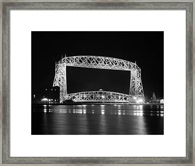 Aerial Lift Bridge Duluth Minnesota Framed Print by Heidi Hermes