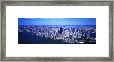 Aerial, Lower Manhattan, Nyc, New York Framed Print