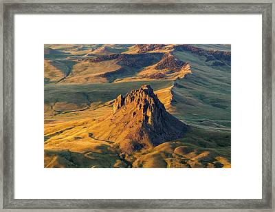 Aerial Of Birdtail Butte In Cascade Framed Print by Chuck Haney